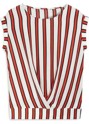 Блузка в полоску полосатая красный белый next 14р (к047)