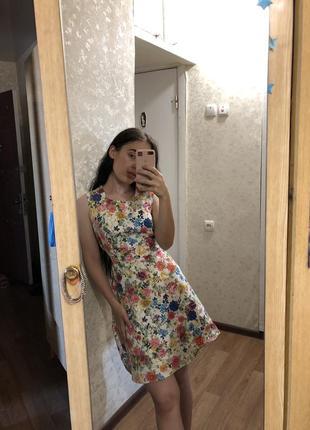 Шикарное платье в цветочный принт в стиле винтаж хлопок5 фото