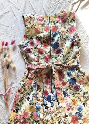 Шикарное платье в цветочный принт в стиле винтаж хлопок3 фото