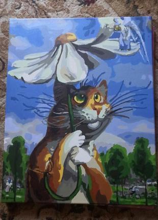 Картина по номерам готовая, кот, ручная работа