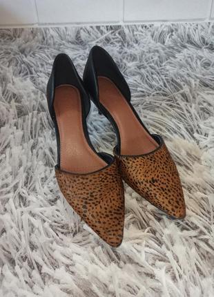 Стильные туфли next леопардовые, женские туфли на невысоком каблуке