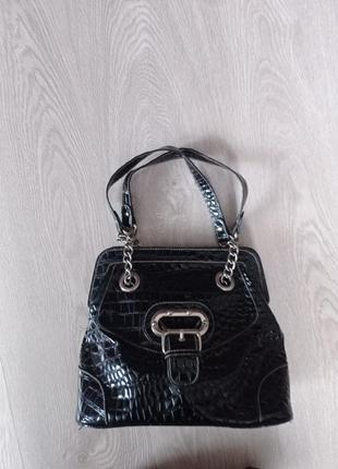 Сумка кожаная сумочка из черной кожы  алигатора