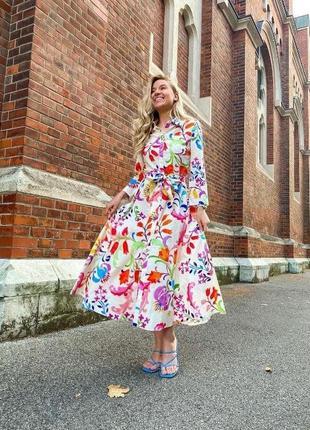 Нежное платье миди, с поясом, яркое новое стильное🎈
