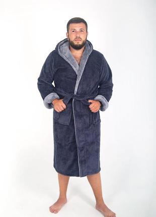 Мужской халат махровый, длинный серого цвета2 фото