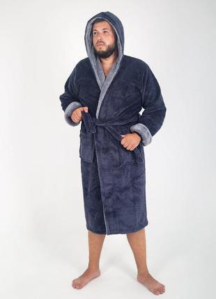 Мужской халат махровый, длинный серого цвета1 фото