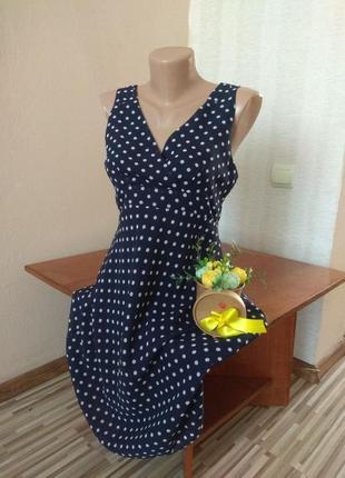 Шикарное шифоновое платье в горох