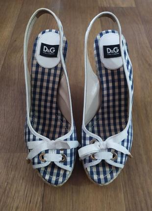 Босоножки сандалии на платформе танкетке плетеные оригинал dolce&gabbana