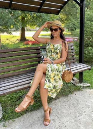 H&m платье сарафан из натуральной ткани принт лимоны 🍋🍋🍋