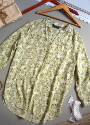 Блуза в листики с длинным рукавом l xl m