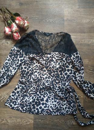 Блузка с длинным рукавом леопард с кружевом на запах