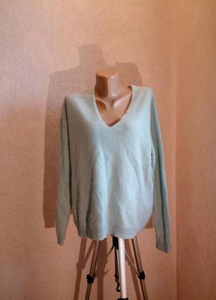 Голубой свитер v-образный вырез 100%кашемир-мягкое золото