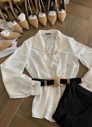 Шифонова блуза з довгим рукавом біла розмір 36