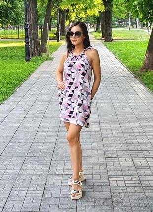 Платье легкое женское короткое мини летнее белое розовое пляжное легкое