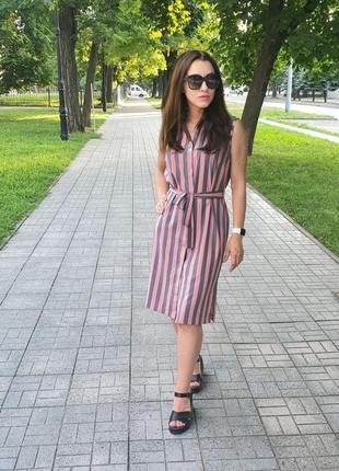 Платье легкое женское длинное миди летнее серое розовое легкое с поясом