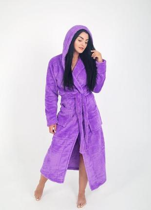 Женский махровый фиолетовый халат длинный