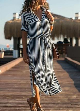 Платье легкое женское длинное миди летнее в полосочку легкое с поясом