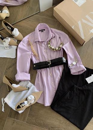 Сорочка оверсайз лавандового кольору розмір m-l