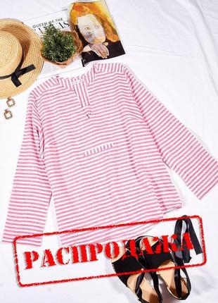 Льняная рубашка женская в полоску, льонова сорочка жіночка полосота