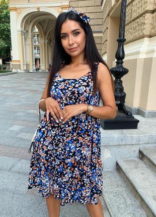 Платье легкое женское короткое летнее цветочное легкое свободное батал