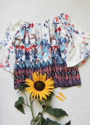 Цветочная блуза с рукавами воланами, размер s-m