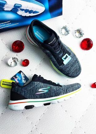 Skechers оригинал серые кроссовки с цветными вставками