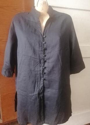 Montego удлинённая блуза 100%лён.