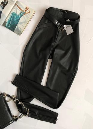 Новые крутые кожаные брюки с высокой посадкой sinsay