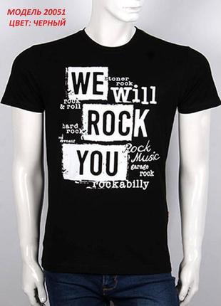 Мужская фирменная футболка, цвет черный, принт rock