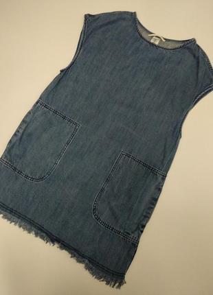 Крутое джинсовое 👗 с карманами необработанные края размера s 100%лиоцел