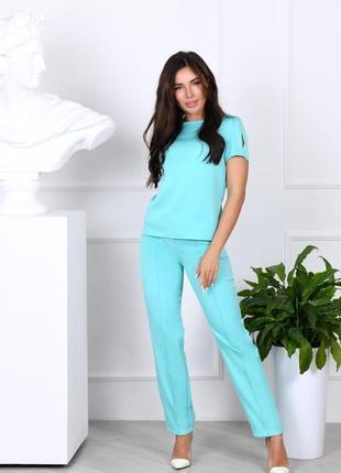 Брючный костюм женский легкий летний классический брюки футболка бирюзовый голубой