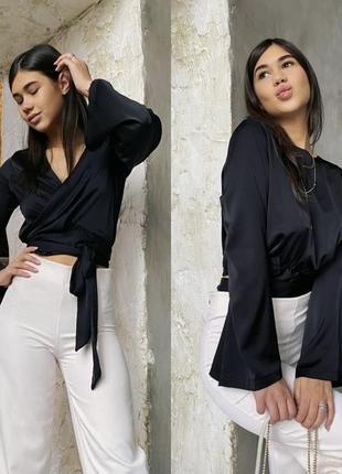 Двустороння шелковая блуза на запах