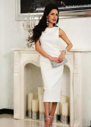 Белое платье футляр миди с набивным кружевом river island размер 441 фото