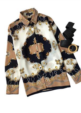 Блуза рубашка на пуговицах в принт