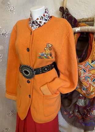 Винтажный шерстяной яркий оранжевый вязаный пиджак  кофто кофточка кардиган с аппликацией мишка тедди
