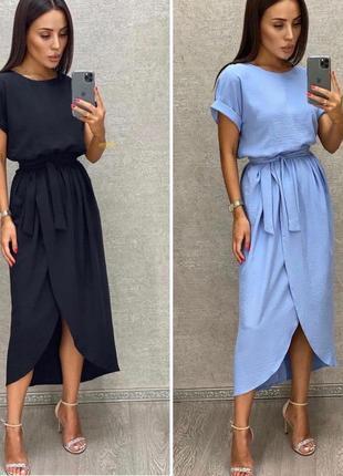 Платье женское батал летнее легкое миди длинное ниже колена с поясом2 фото