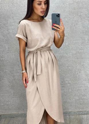 Платье женское батал летнее легкое миди длинное ниже колена с поясом6 фото