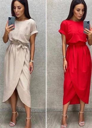 Платье женское батал летнее легкое миди длинное ниже колена с поясом8 фото