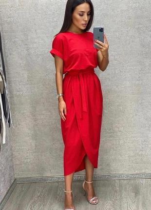 Платье женское батал летнее легкое миди длинное ниже колена с поясом
