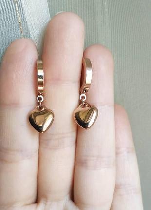 Серьги stainless steel сережки золото сердечки серця