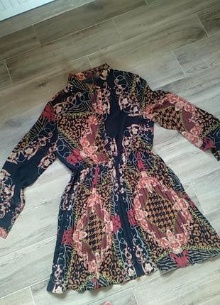 Стильное плиссированное платье с дефектом большой размер 50 52