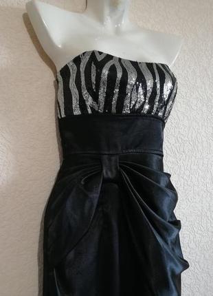 Коктейльное платье с серебряными и черными пайетками от ruby rox