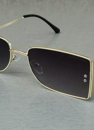 Burberry очки модные женские узкие темно серый градиент в золотом металле
