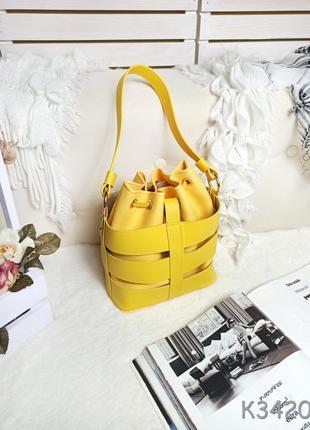 Жовта сумочка, жіноча сумка мішок, желтая сумка с затяжками, сумка мешок