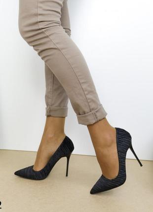 Шикарные туфли на высоком каблуке, женские туфли лодочки текстильные, базовые туфли чёрные