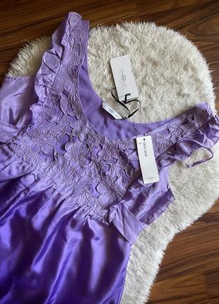 Красивое шёлковое фиолетовое платье 100% шёлк размер м l