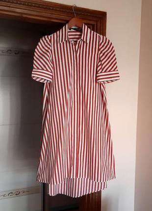 Платье-рубашка миди в полоску zara свободного кроя