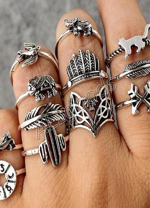 Кольца на фаланги. набор из 12шт. цвет серебро (ring12silver)