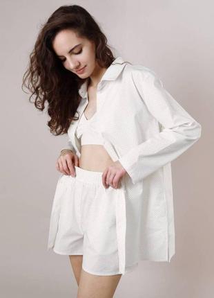 Светлая пижама тройка в горошек белая шорты топ рубашка легкая свободная удобная спальный комплект