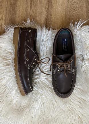 Натур. кожаные топсайдеры туфли мокасины на тракторной подошве