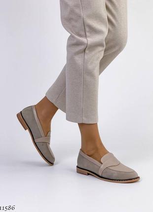 Лоферы натуральная кожа замша туфли